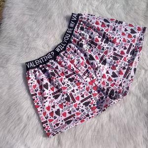 Valentine Boxer Shorts Black Red White Medium